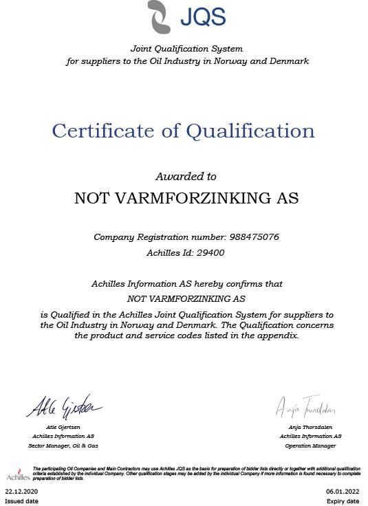 Achillies sertifisering NOT Varmforzinking AS