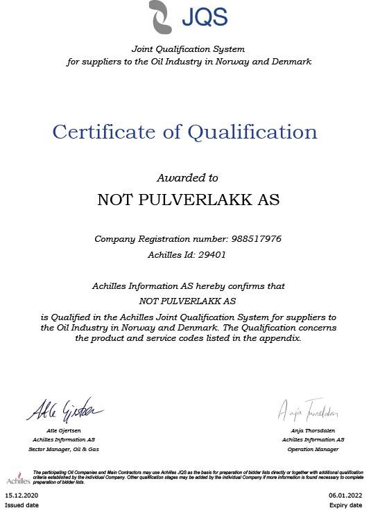 Achillies sertifisering NOT Pulverlakk AS
