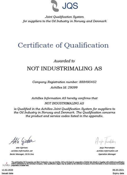 Achillies sertifisering NOT Industrimaling AS